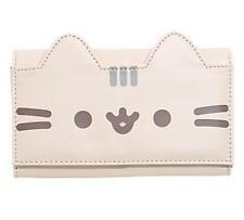 Pusheen Facebook Cat Faux Leather Flap Wallet Billfold Interior Zipper Pouch NWT