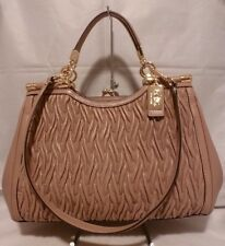 NWT COACH Madison Gathered Twisted STONE Leather Carrie Satchel Purse 27681