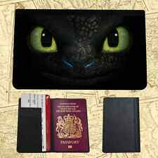 HOW TO TRAIN DRAGON EYES PRINTED FAUX LEATHER PASSPORT HOLDER COVER