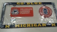 1 - Officially Licensed Michigan Wolverines Metal License Plate Frame Go Blue