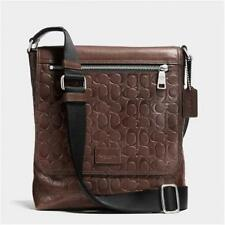 COACH Bleecker 71650 Men's Signature embossed brown leather shoulder bag