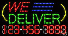 """NEW """"WE DELIVER"""" 32x17 w/YOUR PHONE NUMBER SOLID/FLASH LED SIGN w/OPTIONS 25025"""