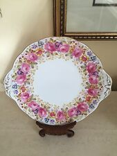 "ROYAL ALBERT CAKE PLATE ""SERENA"" Tab Handled Gold Trim Excellent!"