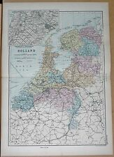 1890 LARGE VICTORIAN MAP - HOLLAND, ENVIRONS OF AMSTERDAM