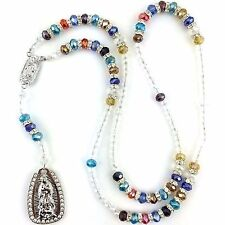 Multicolor Virgin Mary Our Lady of Guadalupe Crystal Rhinestone Rosary Rosario
