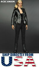 "T800 1/6 Leather Jacket Set For 12"" Hot Toys Phicen Female Figure - USA SELLER"