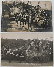 ANTIQUE REAL PHOTO POSTCARDS-BATTLE OF THE FLOWERS-CHANNEL ISLANDS-1910 & 1912
