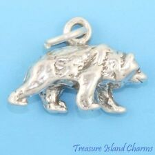 SMALL WALKING BEAR DETAILED 3D .925 Solid Sterling Silver Charm MADE IN USA