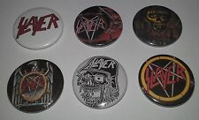 6 Slayer pin button badges Thrash Metal Reign in Blood Hell Awaits Show no Mercy