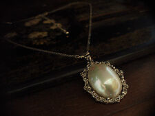 Vintage Marcasite and Pearl Drop  Pendant Necklace. Adjustable