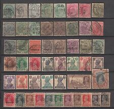 British India 50 Different Stamps of Queen Victoria, King Edward & George V & VI