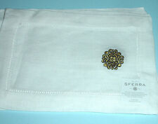 "Sferra HERALD Cocktail Napkins White Linen Gold Black Embroidery 6x9"" SET/4 New"