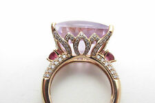 18kt ROSE GOLD FANCY-CUT 18.75 DIAMOND PINK TOURMALINE & AMETHYST ESTATE RING