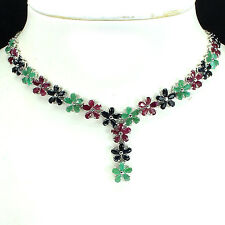 Silver 925 Genuine Natural Sapphire, Emerald & Pink Ruby Floral Necklace 18 Inch