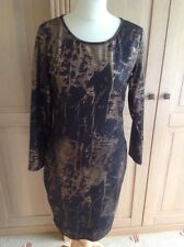 GREAT SONIC LONDON GOLD & BROWN SNAKE PRINT DRESS UK SIZE 12 WORN ONCE GREAT CON