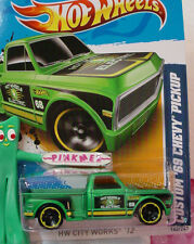2012 i Hot Wheels CUSTOM '69 CHEVY PICKUP truck 1969 #140☆Green☆Yellow☆ Electric