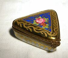 LIMOGES TRINKET / PILL BOX SIGNED TRIANGULAR   FLORAL  ROSE  CLASP