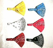 Lot of  6  Women Multi-function Head Scarf Bandana Elastic Headband Wrap Paisley