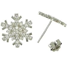 FROZEN- SNOWFLAKE Stud Earrings- Christmas- Genuine Solid 925 Sterling silver-CZ