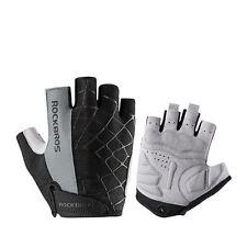 ROCKBROS Bicycle Half Finger Short Gloves Shockproof Breathable Gloves Gray L
