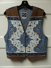"""HAIRSTON ROBERSON """"ROPA"""" BLUE DENIM VEST w/ EMBROIDERED DECORATION, SIZE LARGE"""