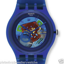 Swatch Watch Collection 2012 Unisex Indigo Laquered Swatch Watch SUON101 Gift