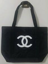 AUTHENTIC CHANEL PRECISION VIP BLACK SHOULDER BAG TOTE WITH WHITE SEQUINS