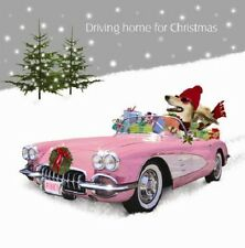 Driving Home for Christmas Shopping Saluki Dog in Car 10 pk luxury cards glitter