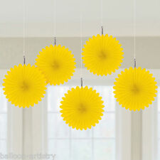5 Classic Yellow Wedding Birthday Party Hanging Mini Paper Fans Decorations