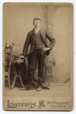CABINET CARD MAN IN STRIPED SUIT. MT PLEASANT, IOWA.