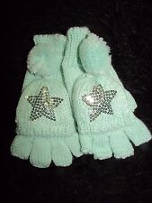 Fingerless Mittens Gloves Sequined star stretch pull back cover mint green new