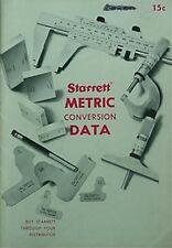 1973 STARRETT TOOLS METRIC CONVERSION DATA BOOKLET (L.S. STARRETT COMPANY