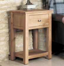 Mobel solid oak living room furniture small side end lamp table with drawer