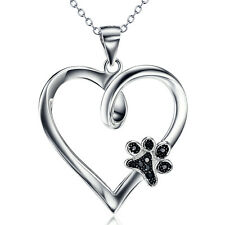 925 Sterling Silver Black CZ Forever Love Heart Puppy Paw Necklace Pendant