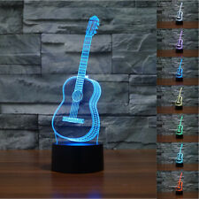 3D Ukulele guitar Model Night Light 7 Color Change LED Table Lamp Music decor