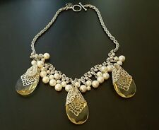 Ann Taylor Pearl Stone Statement Necklace