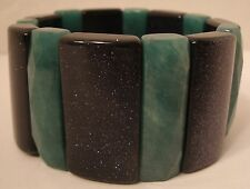 "Green & Black Stone Stretch Bracelet Sparkles 6"" unstretched 1.25"" Wide Elegant"