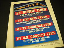 RADIO CITY MUSIC HALL Bette Midler #1 U.S. Concert Ever more PROMO POSTER AD