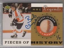 2001-02 UD Legends BOBBY CLARKE Piece of History Auto Buyback 1/5 Rare