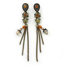 Vintage Inspired Grey, Olive Enamel Floral, Chain Tassel Drop Earrings In Bronze