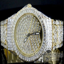 MEN'S NEW FULLY ICED OUT YELLOW GOLD FINISH SWISS BLINGMASTER LAB DIAMOND WATCH