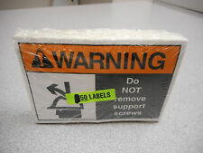 """LAB SAFETY SUPPLY SAFETY LABEL STICKER """"WARNING DO NOT REMOVE SUPPORT SCREW"""" X50"""