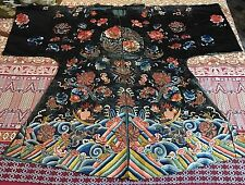19th C Antique Chinese Silk Hand Embroidery Robe Silk Poor