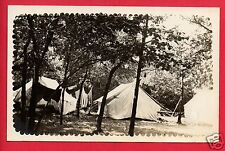 RPPC TENTS IN A WOODS  CLOTHES HANGING ON LINE CAMPING CAMP REAL PHOTO POSTCARD