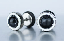 Urban Design Black Stone Punk Stainless Steel Screw Back Stud Earrings Men Women
