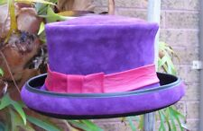 PURPLE SUEDE LEATHER FORMAL FANCY DRESS BURLESQUE / BOWLER/ RACES LADIES' HAT