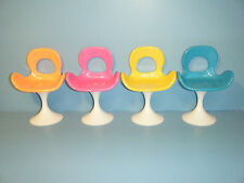 FOUR BARBIE POP LIFE BLUE / ORANGE / PINK & YELLOW CHAIRS