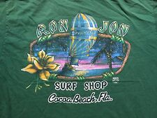 Vintage 1995 Ron Jon Surf Shop Cocoa Beach Florida T-shirt L 90s Green Pocket