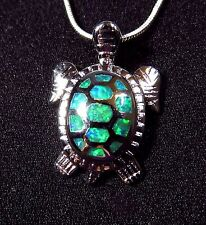 """Cute Sterling 925 Silver SF Pendant & Necklace Green Lab Fire Opal TURTLE   1"""""""