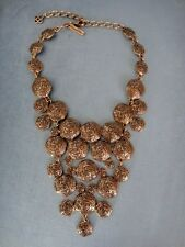 MASSIVE OSCAR DE LA RENTA COUTURE SIGNED ETRUSCAN HAMMERED DISCS BIB NECKLACE